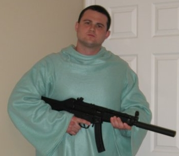 Me with my GSG 5 in a Snuggie